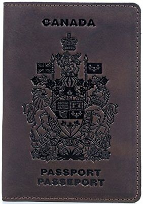 Shvigel Passport Cover - 100% Genuine Leather - Arms of Canada Embossing - fo...