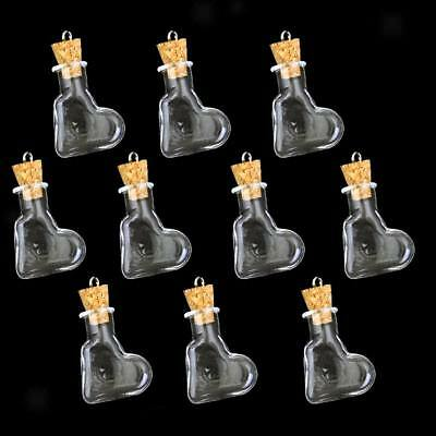 Lot 10x Tie Plug Loop Tiny Glass Bouteille Vial Potion Parfum Wishing