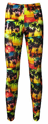 Kids / Girls Beach Colourful Exotic Palm Trees Print Leggings Size 5 -10 Years