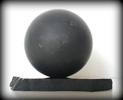 Shungite Unpolished SPHERE BALL 90 mm/3.54 in.from. Karelia RUSSIA on a support