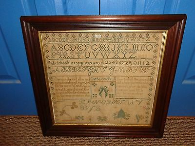 Early 19th.c Cross Stitch Needle Work Sampler by Catharina Paul, 1833, Antique