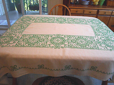 Vtg Bucilla Hand Embroidered Cross Stitched Linen Tablecloth Green Ivory 49 X 63