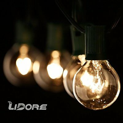 LIDORE G40 Globe Bulb Patio String Light Set with Clear Bulbs and 25.8ft Gree...