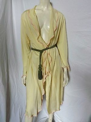 Vintage 30s RECENIA ~ Yellow Silky Rayon Boudoir Robe ~ Pin Up Gown ~ AS IS ~ S