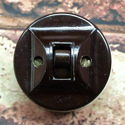 1 Way Fully Restored Vintage Art Deco Bakelite & Ceramic Light Switch CONTACTUM