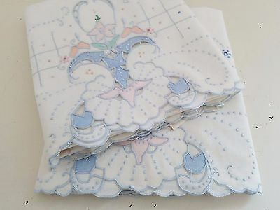 Vintage Antique MADEIRA Embroidered COLOR Cutwork Pillowcase Set ~ NEW NWT