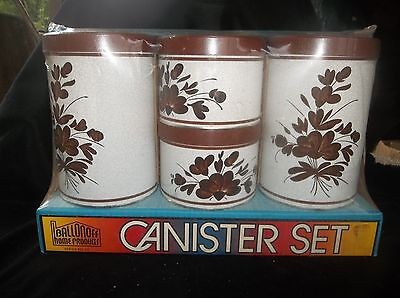 Vintage Brown & Tan 4 Pc Metal Canister Set By Ballonoff Home Products New!!