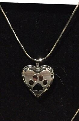 Sterling Silver Heart paw Print Necklace