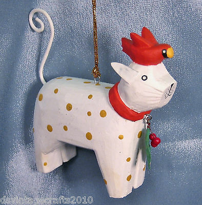 Wooden Cat with a Bird Window Christmas Ornament New