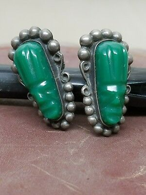 Vintage Mexico Silver Earrings w/Carved Jade Green Mask/Faces Mayan Design