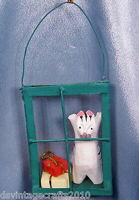 Wooden Cat in a Glass Window Christmas Ornament New