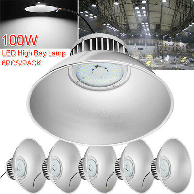 6x 100W LED High Bay Lamp Commercial Warehouse Factory Industrial Shed Lighting