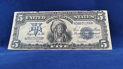 "1899 $5  "" Indian Chief "" Silver Certificate <<<<"