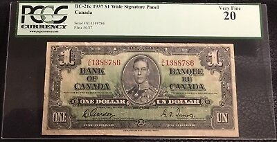 1937 $1 BANK OF CANADA - BC-21c - PCGS VF 20. Wide Signature Panel  INV# N-112
