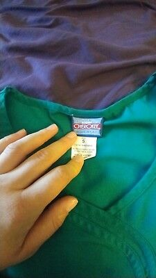 Cherokee workwear womens scrubs uniform top size S  green