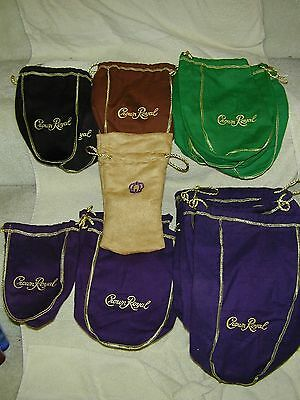 16 Crown Royal Velvet Bags Assorted Colors & Sizes