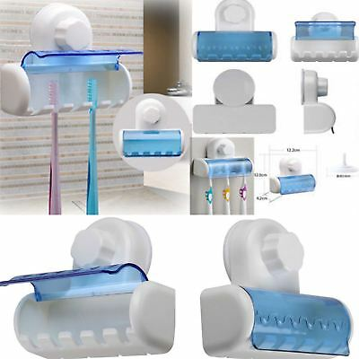 5 Rack Hygienic Toothbrush Bathroom SUCTION CUP Holder Easy Fix Wall Mounted