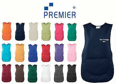 Ladies Premier Personalised your Text/Logo Pocket Tabard Workwear Catering