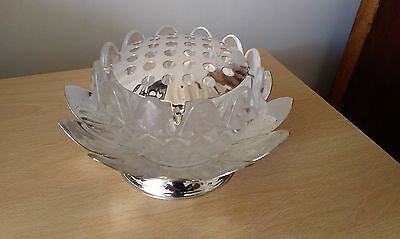 silver plated and cut glass rosebowl