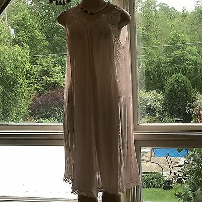 Vtg Shadowline Pink Nylon Lace Embroidered Nightgown Sz Med