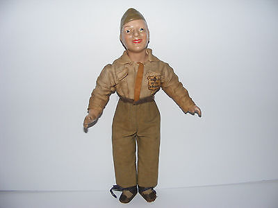 """1940's COMPOSITION ARMY DOLL 16"""" WWII American Soldier by Freundlich"""