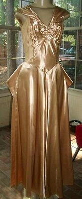 Vintage Authenic ART DECO 1920/30's LIQUID SATIN GOLD Evening Gown