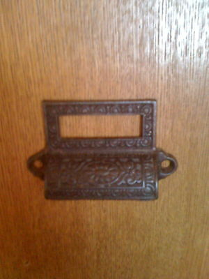 Antique Iron Egg And Dart Label Holding Bin Pulls,corbin 1875,sold Individually