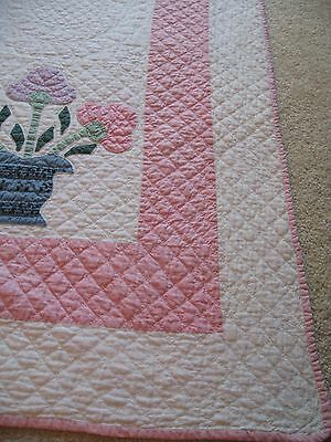 Vintage 30's Applique Flowers In Pot,70X89, Crisp, Clean&cotton