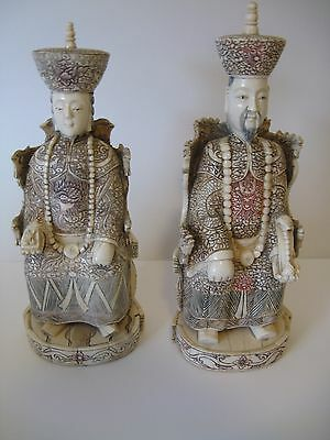 """VINTAGE Chinese  Buffalo bone Carved  Emperor and Queen - 11"""" tall"""