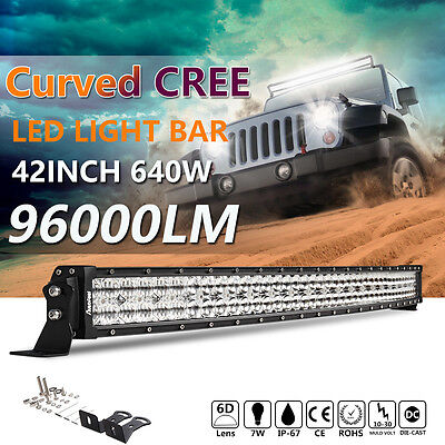 """Curved 42Inch LED Light Bar Combo Beam 640W 40"""" 6D+ Lens CREE for chevrolet Ford"""