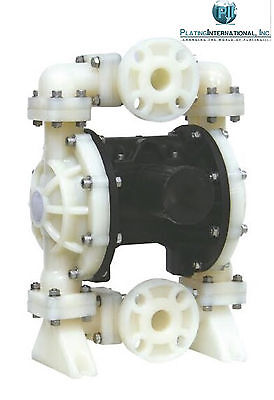 "Chemical Resistant Poly 1"" Air Diaphragm Pump with Teflon / PTFE Diaphragms"