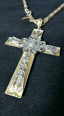 Whiting & Davis Vintage Etruscan-Style Cross and Chain Costume Antique Jewelry