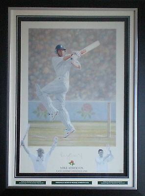 Michael Atherton Signed Cricket Limited Edition Print Display Framed AFTAL #175