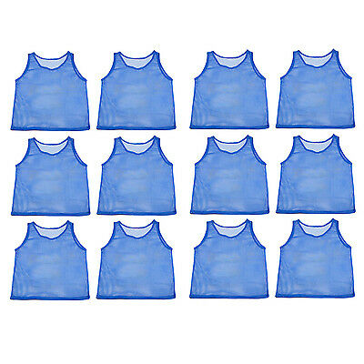 12 Blue Youth Scrimmage Practice Jerseys Team Pinnies Sports Vest for Children