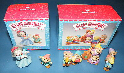 Snow White and all 7 Dwarfs Hallmark Merry Miniatures 1997 2 sets
