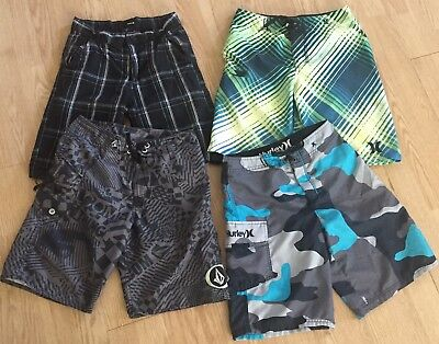 Lot x4 Youth Boys Hurley Volcom Board Shorts & Plaid Sizes 10 And 12