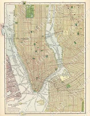 LARGE VINTAGE historic 1910 NEW YORK CITY NYC OLD ANTIQUE STYLE STREET MAP PRINT