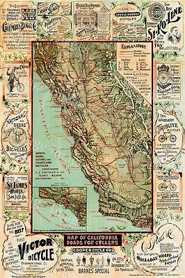 LARGE 1895 Historic California map old Bicycle map Antique advertising wall Map