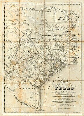 HUGE historic 1841 TEXAS STATE MAP OLD WEST ANTIQUE STYLE WALL FINE art print