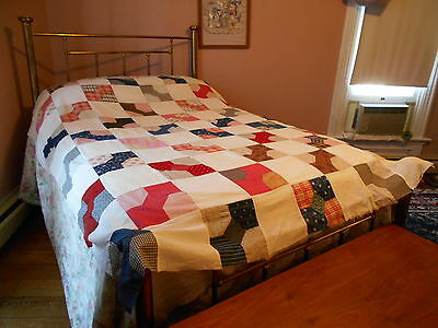 "Vintage Antique Bow Tie Quilt Top Cotton 64"" X 81"" 1900s 1920s"