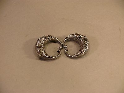 """Estate Antique Chinese Silver Hollow Hinged Earring(?) Pair Signed """"SG"""""""