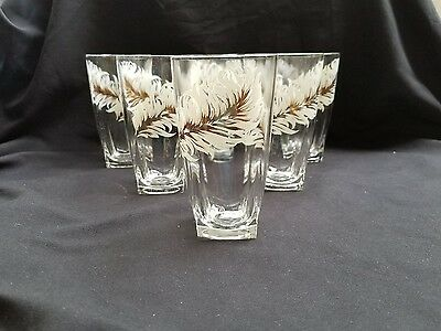 Vintage 50's Set of 6 White Feather Gold Center Square Bottoms Tumblers