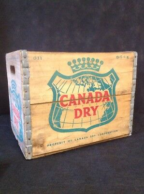 Vintage 1964 Canada Dry Advertising Wooden Crate Box Very Good Condition