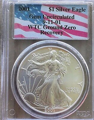 2001 $1 Silver Eagle WTC Ground Zero Recovery 9-11-01 PCGS Gem Uncirculated Coin