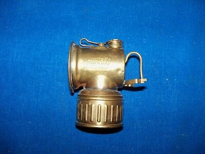Antique Unusual Brass Coal Mine Mining Miners Carbide Lamp Light Dated 1912