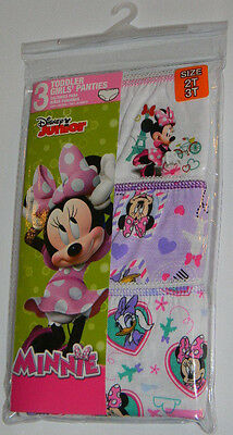 New Disney Junior Minnie Mouse Daisy Heart Toddler Girls Panties Underwear 2T 3T