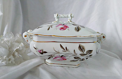 Antique Schwalb Bros Late 1800s Covered Dish with China Lid