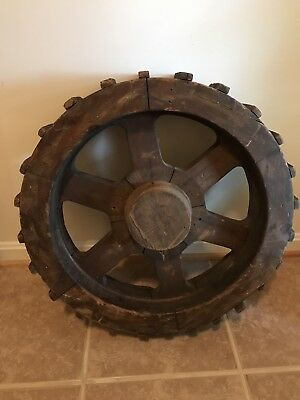 Antique Industrial Wood Foundry Wheel Pattern Mold 22""