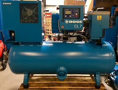 Boge CLD7-270 Receiver Mounted Rotary Screw Compressor Package With Dryer! 30Cfm