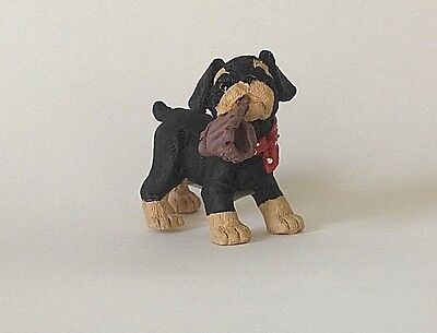 1992 New Kathy Wise Standing Rottweiler Pup  Figurine By Enesco